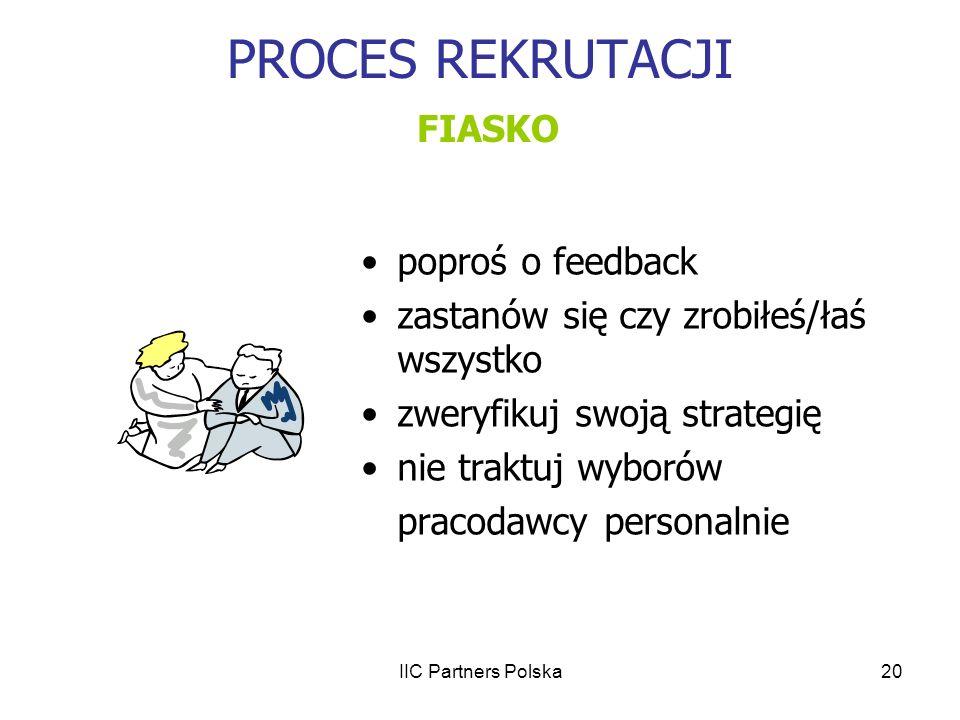 IIC Partners Polska20 PROCES REKRUTACJI FIASKO poproś o feedback zastanów się czy zrobiłeś/łaś wszystko zweryfikuj swoją strategię nie traktuj wyborów