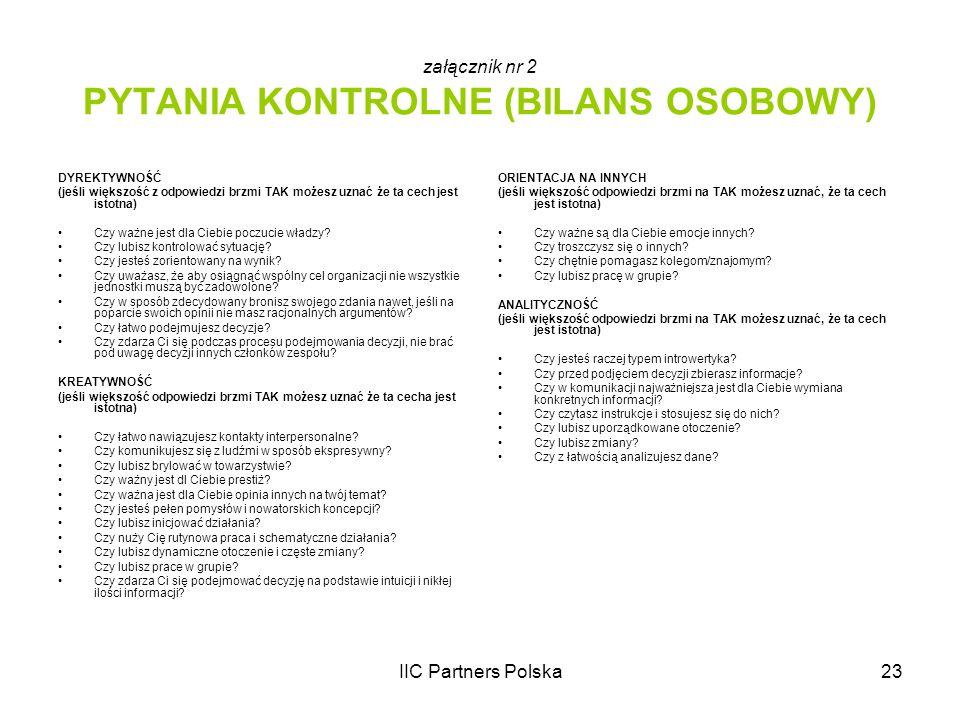 IIC Partners Polska23 załącznik nr 2 PYTANIA KONTROLNE (BILANS OSOBOWY) DYREKTYWNOŚĆ (jeśli większość z odpowiedzi brzmi TAK możesz uznać że ta cech j