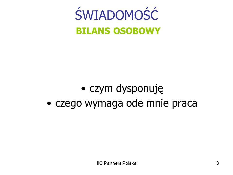 IIC Partners Polska3 ŚWIADOMOŚĆ BILANS OSOBOWY czym dysponuję czego wymaga ode mnie praca