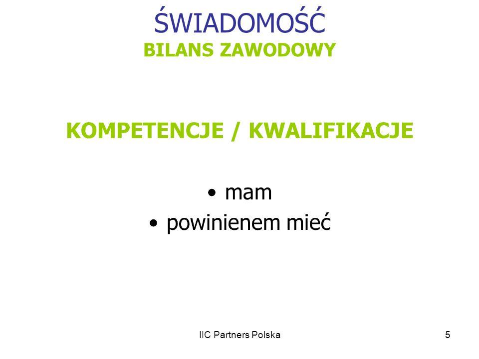 IIC Partners Polska6 ŚWIADOMOŚĆ BILANS ZAWODOWY KOMPETENCJE TWARDE bezpośrednia realizacja zadań w działach finansowych np..