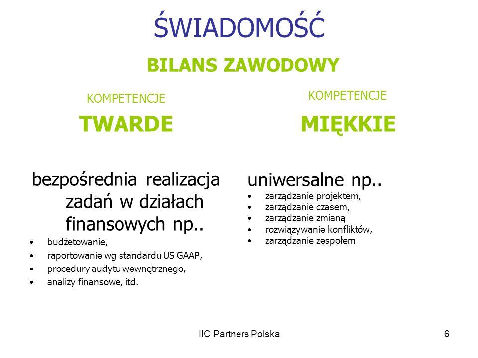 IIC Partners Polska6 ŚWIADOMOŚĆ BILANS ZAWODOWY KOMPETENCJE TWARDE bezpośrednia realizacja zadań w działach finansowych np.. budżetowanie, raportowani