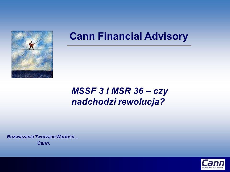 MSSF 3 Stara wartość firmy (previously recognized goodwill) Wraz z pierwszym rokiem finansowym rozpoczynającym się 31 marca 2004 lub po tej dacie przestajemy amortyzować wartość firmy Począwszy od początku roku finansowego rozpoczynającego się 31 marca 2004 lub po tej dacie dokonujemy corocznych testów na trwałą utratę wartości W przypadku istnienia ujemnej wartości firmy, ta część, która nie została jeszcze odpisana do rachunku zysków i strat, na początku pierwszego roku finansowego rozpoczynającego się 31 marca 2004 lub po tej dacie zostaje przeksięgowana do kapitałów własnych (retained earnings)