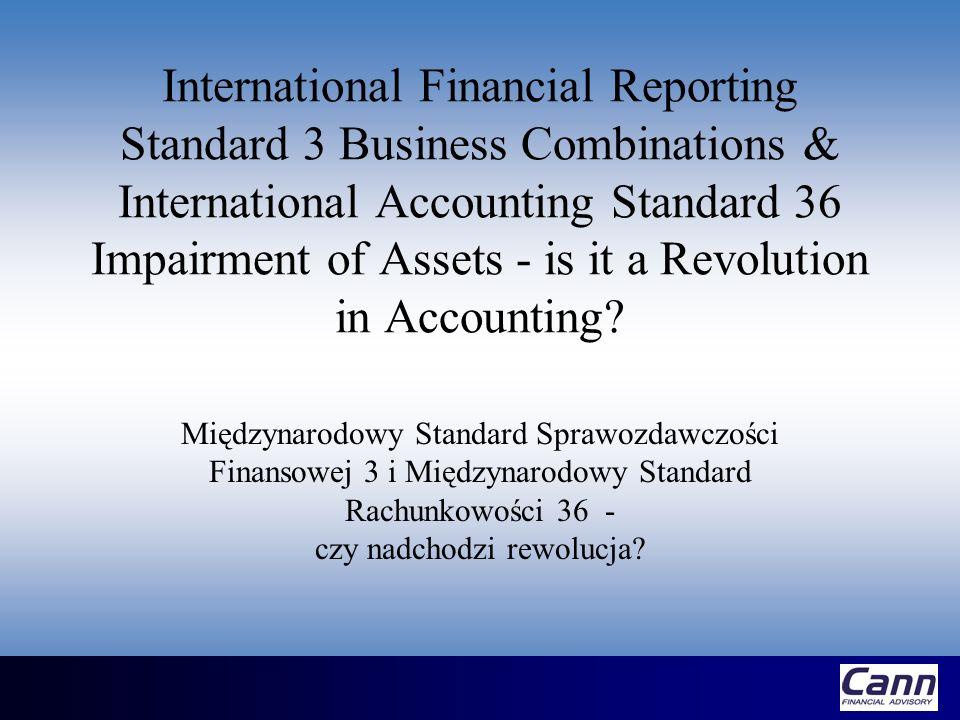 Wstęp MSSF 3 (zastępujący MSR 22) odnosi się do łączenia spółek, dla których umowa transakcji połączenia/przejęcia została zawarta w dniu 31 marca 2004 lub później MSR 36 stosowany jest do : wartości firmy (goodwill) oraz wartości niematerialnych i prawnych nabytych w wyniku transakcji połączenia/przejęcia z dniem 31 marca 2004 lub później wszystkich innych aktywów dla okresów sprawozdawczych rozpoczynających się z dniem 31 marca 2004 lub później