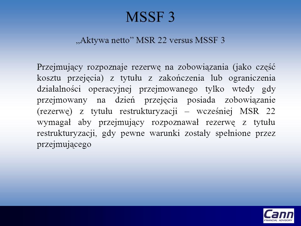 MSSF 3 Technology-based intangible assets Patented technology Computer software and mask works Unpatented technology Datebases Trade secrets such as secret formulas, processes or recipes