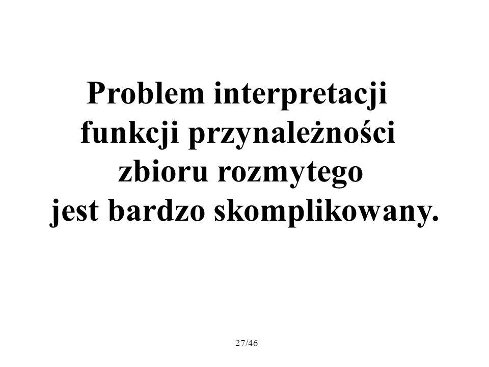 27/46 Problem interpretacji funkcji przynależności zbioru rozmytego jest bardzo skomplikowany.