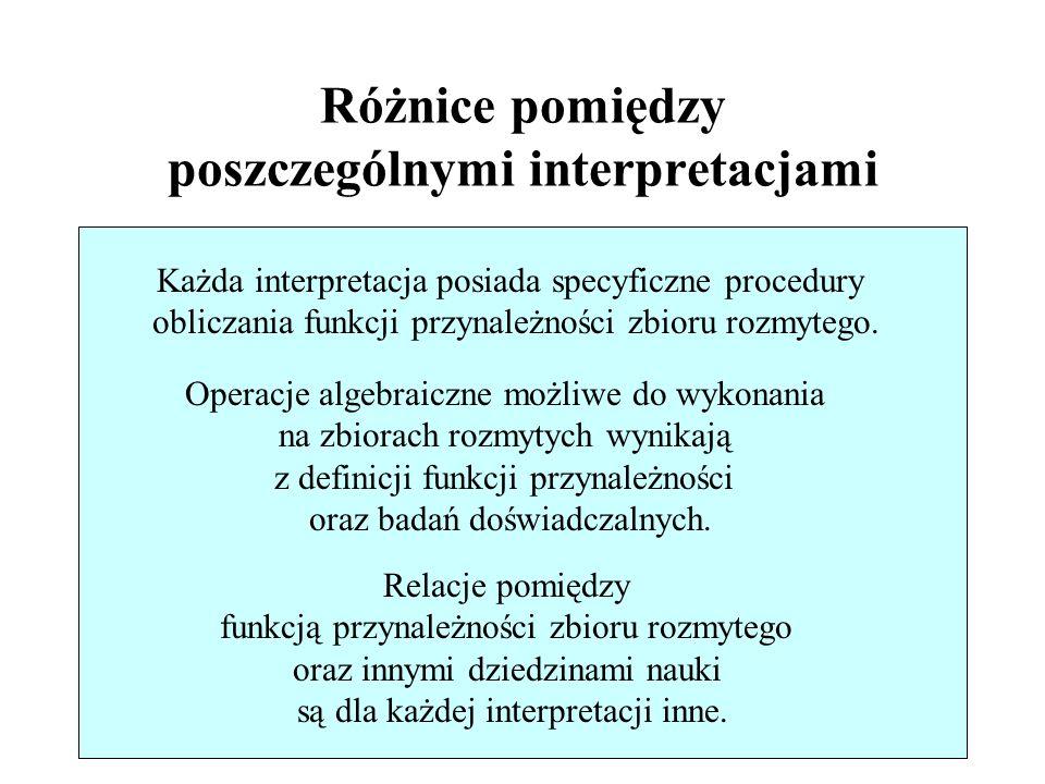 29/46 Różnice pomiędzy poszczególnymi interpretacjami Każda interpretacja posiada specyficzne procedury obliczania funkcji przynależności zbioru rozmy