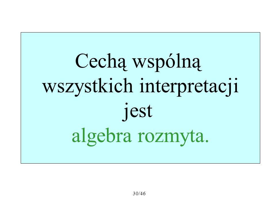 30/46 Cechą wspólną wszystkich interpretacji jest algebra rozmyta.