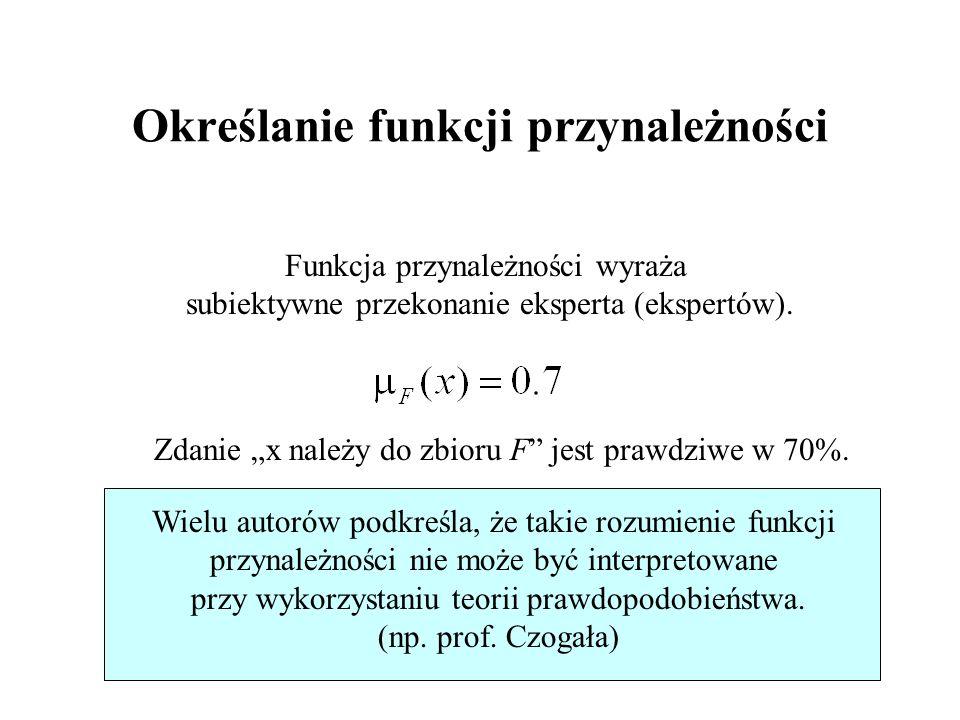 33/46 Określanie funkcji przynależności Funkcja przynależności wyraża subiektywne przekonanie eksperta (ekspertów). Zdanie x należy do zbioru F jest p