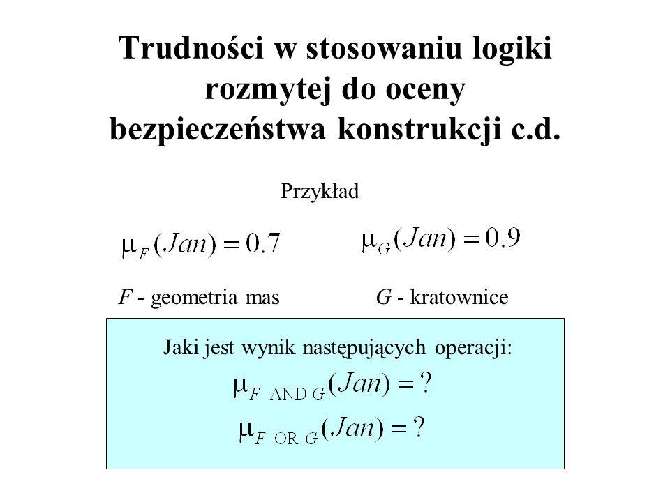 G - kratownice Trudności w stosowaniu logiki rozmytej do oceny bezpieczeństwa konstrukcji c.d.