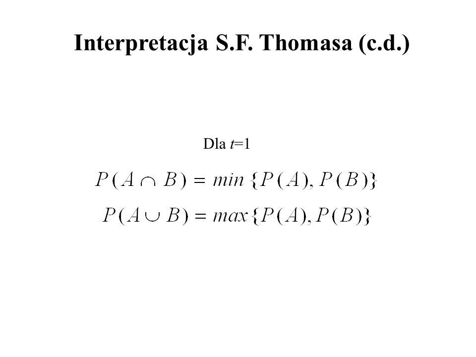 Dla t=1 Interpretacja S.F. Thomasa (c.d.)