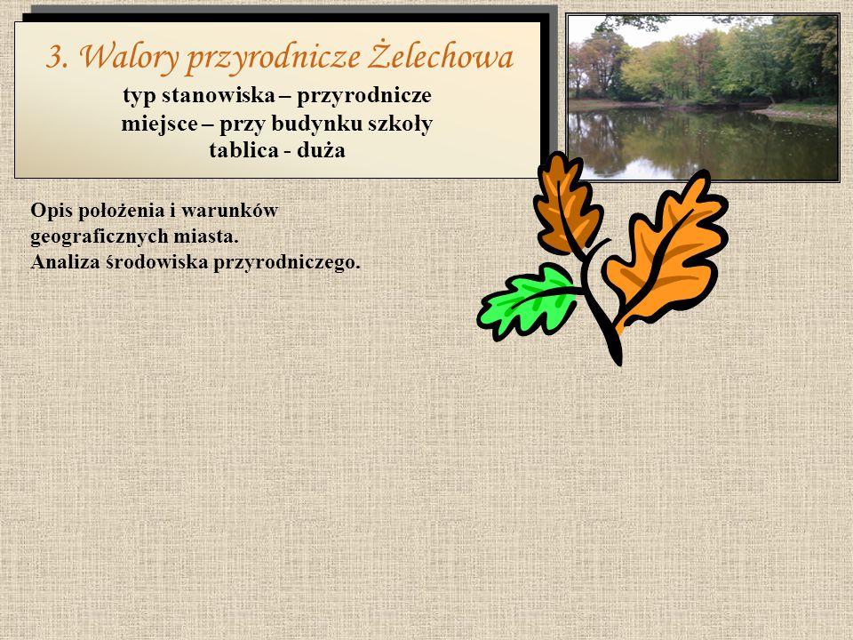 2. Historia Żelechowa typ stanowiska – historyczne miejsce – przy budynku szkoły tablica - duża Krótki opis historii miasta