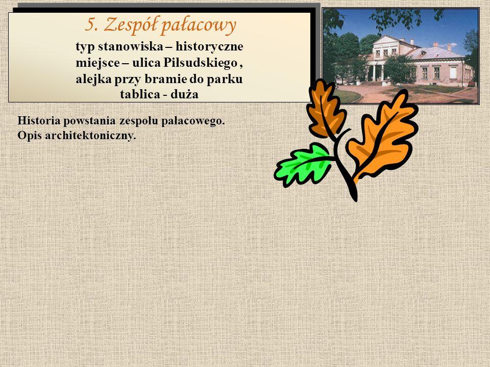 Historia i kompozycja parku. Środowisko przyrodnicze parku (fauna i flora). 4. Zespół parkowy typ stanowiska – przyrodnicze miejsce – ulica Piłsudskie