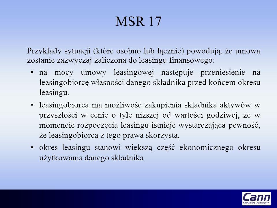 MSR 17 Przykłady sytuacji (które osobno lub łącznie) powodują, że umowa zostanie zazwyczaj zaliczona do leasingu finansowego: na mocy umowy leasingowe
