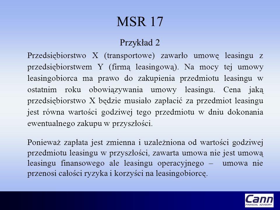 MSR 17 Przykład 2 Przedsiębiorstwo X (transportowe) zawarło umowę leasingu z przedsiębiorstwem Y (firmą leasingową). Na mocy tej umowy leasingobiorca