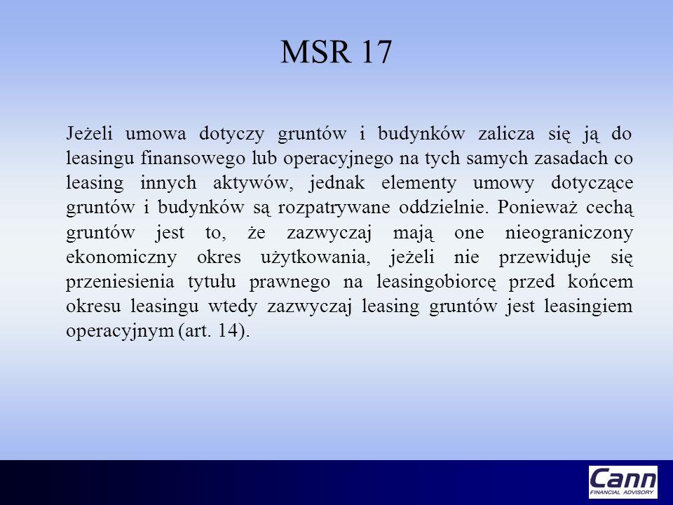 MSR 17 Jeżeli umowa dotyczy gruntów i budynków zalicza się ją do leasingu finansowego lub operacyjnego na tych samych zasadach co leasing innych aktyw