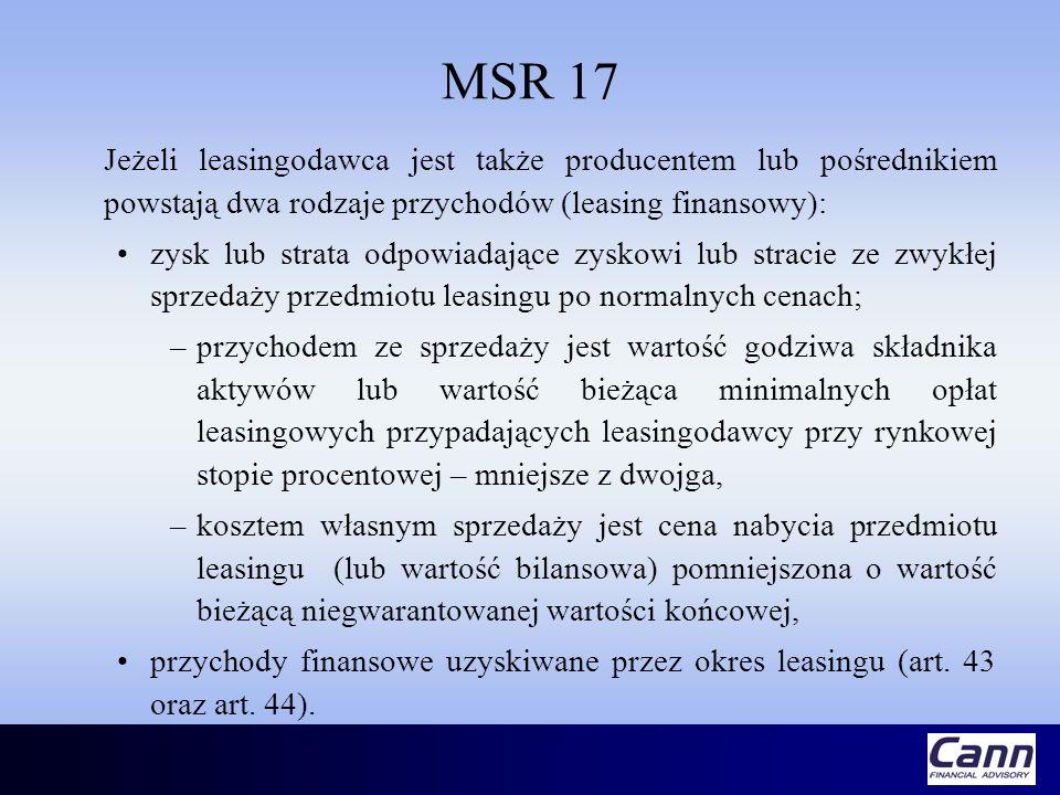 MSR 17 Jeżeli leasingodawca jest także producentem lub pośrednikiem powstają dwa rodzaje przychodów (leasing finansowy): zysk lub strata odpowiadające