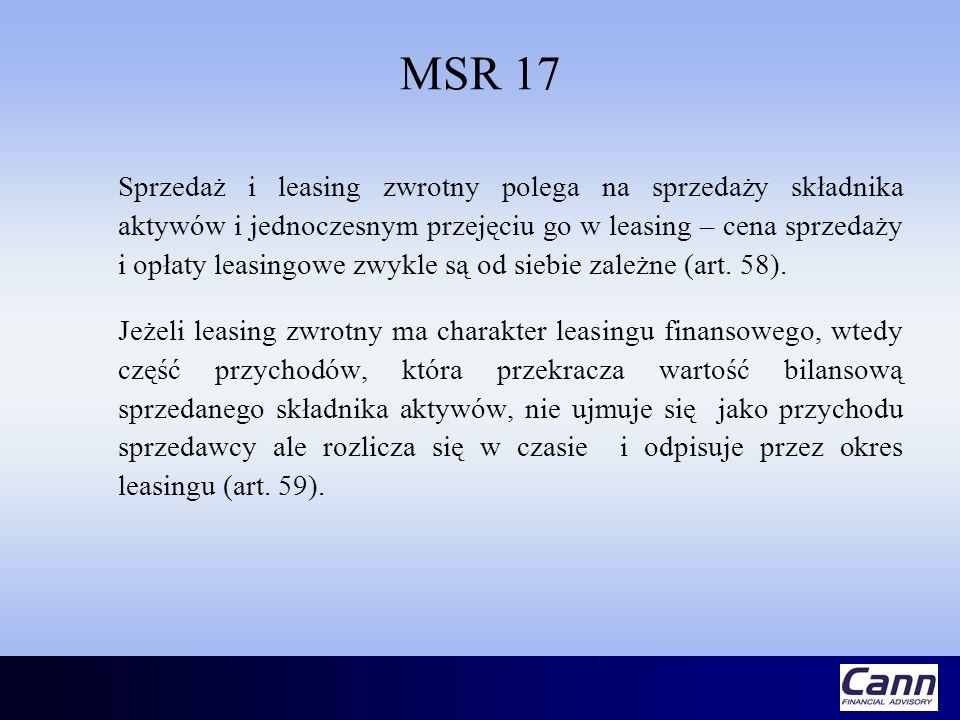 MSR 17 Sprzedaż i leasing zwrotny polega na sprzedaży składnika aktywów i jednoczesnym przejęciu go w leasing – cena sprzedaży i opłaty leasingowe zwy