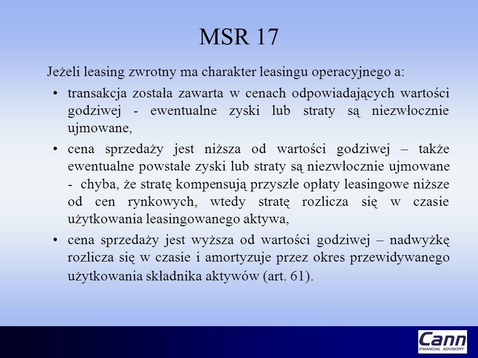 MSR 17 Jeżeli leasing zwrotny ma charakter leasingu operacyjnego a: transakcja została zawarta w cenach odpowiadających wartości godziwej - ewentualne