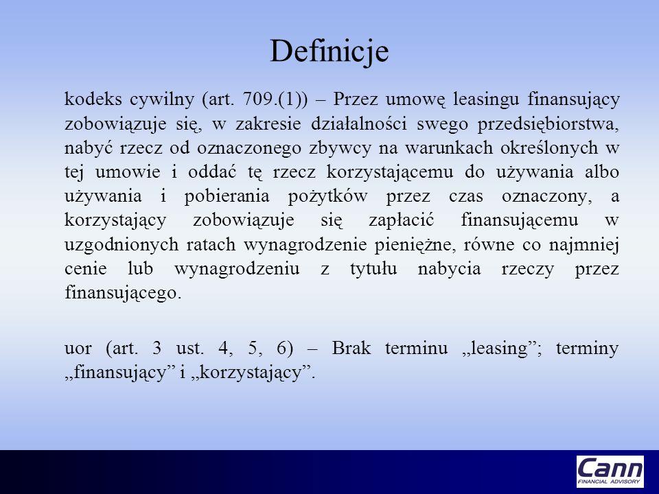 Definicje kodeks cywilny (art. 709.(1)) – Przez umowę leasingu finansujący zobowiązuje się, w zakresie działalności swego przedsiębiorstwa, nabyć rzec