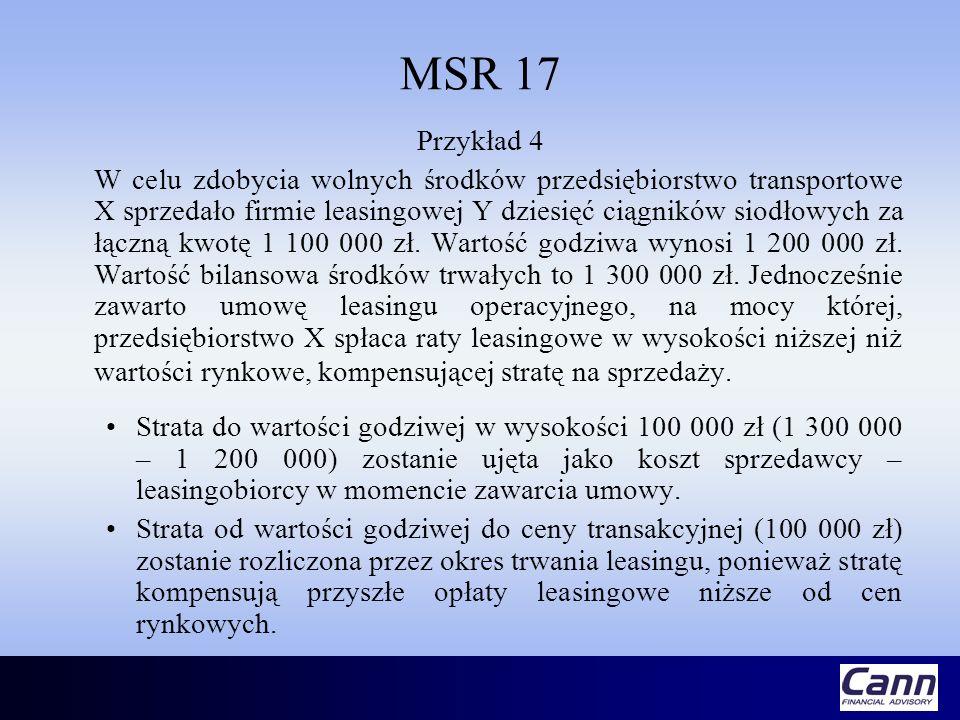MSR 17 Przykład 4 W celu zdobycia wolnych środków przedsiębiorstwo transportowe X sprzedało firmie leasingowej Y dziesięć ciągników siodłowych za łącz