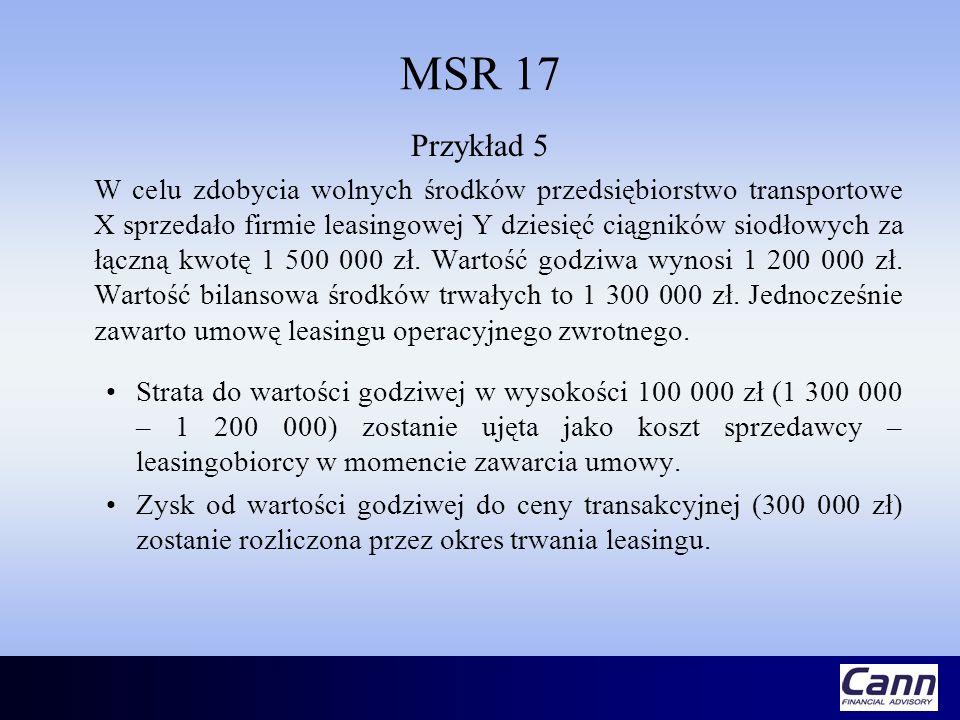 MSR 17 Przykład 5 W celu zdobycia wolnych środków przedsiębiorstwo transportowe X sprzedało firmie leasingowej Y dziesięć ciągników siodłowych za łącz