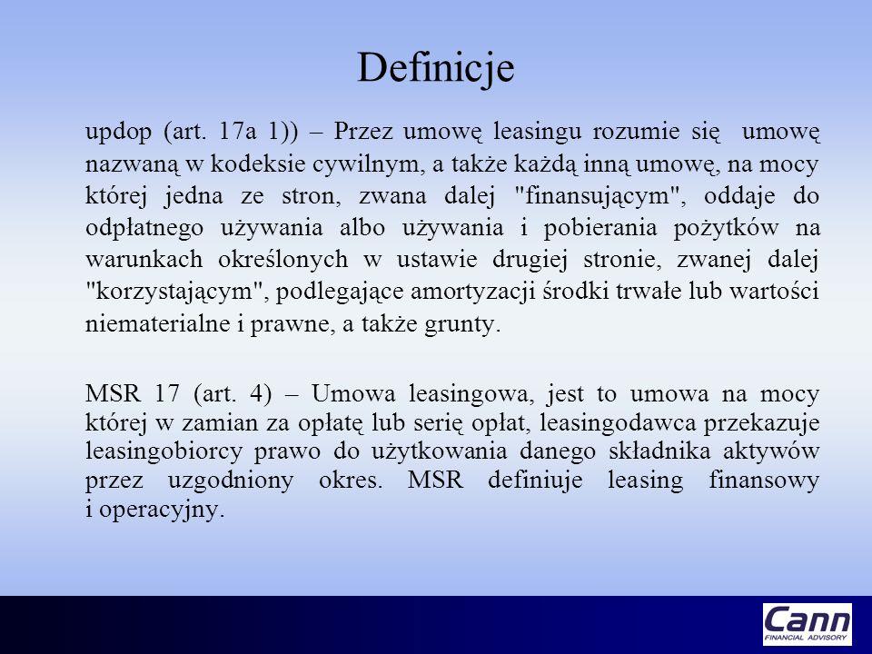 Definicje updop (art. 17a 1)) – Przez umowę leasingu rozumie się umowę nazwaną w kodeksie cywilnym, a także każdą inną umowę, na mocy której jedna ze