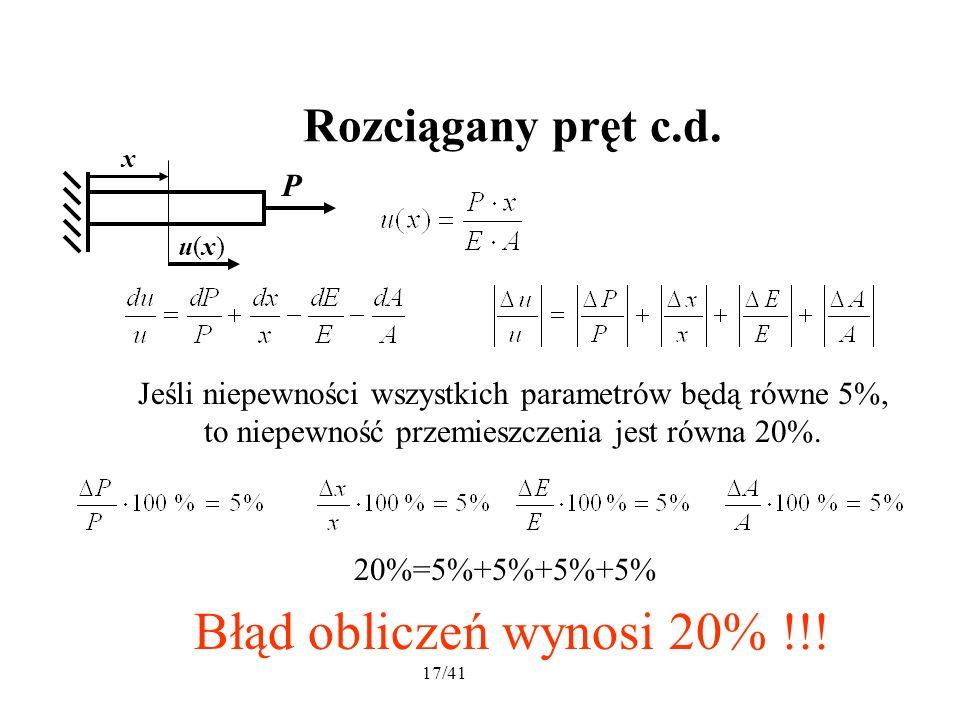 17/41 Rozciągany pręt c.d. Błąd obliczeń wynosi 20% !!.