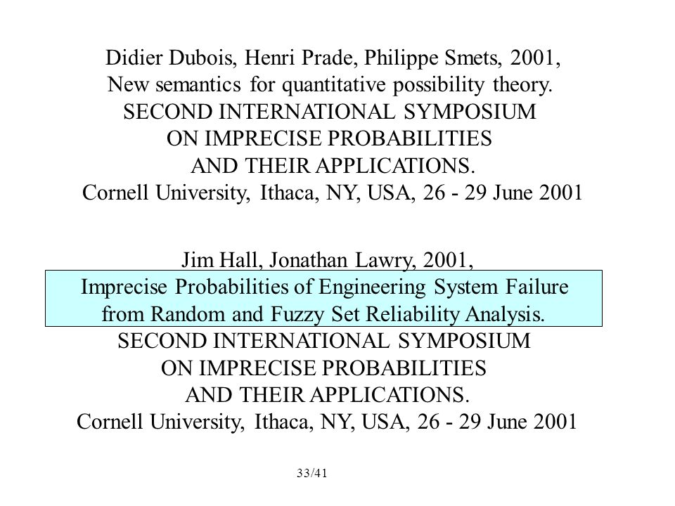 33/41 Didier Dubois, Henri Prade, Philippe Smets, 2001, New semantics for quantitative possibility theory.