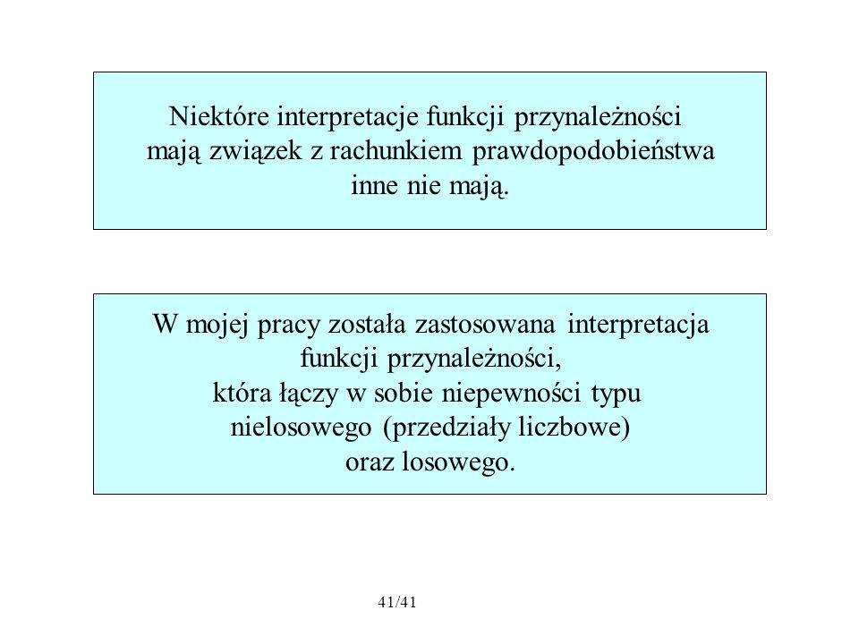 41/41 Niektóre interpretacje funkcji przynależności mają związek z rachunkiem prawdopodobieństwa inne nie mają.