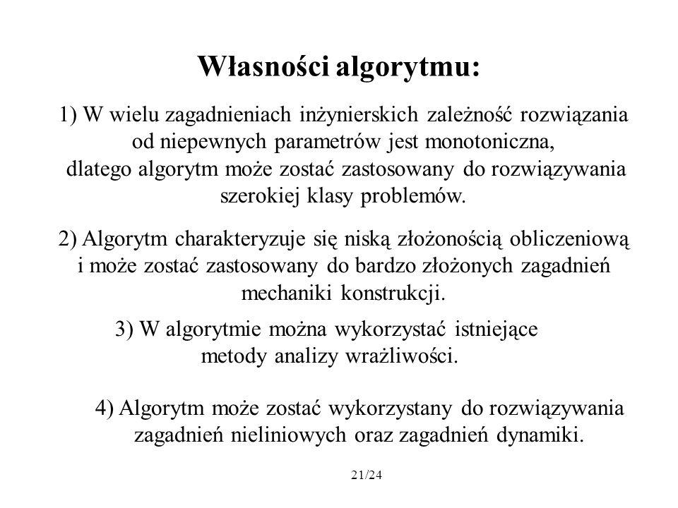 21/24 Własności algorytmu: 1) W wielu zagadnieniach inżynierskich zależność rozwiązania od niepewnych parametrów jest monotoniczna, dlatego algorytm m