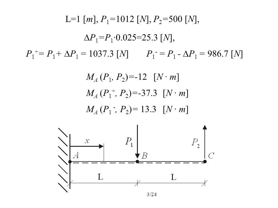 3/24 L=1 [m], P 1 =1012 [N], P 2 =500 [N], P 1 =P 1 ·0.025=25.3 [N], P 1 + = P 1 + P 1 = 1037.3 [N]P 1 - = P 1 - P 1 = 986.7 [N] M A (P 1, P 2 )=-12[N