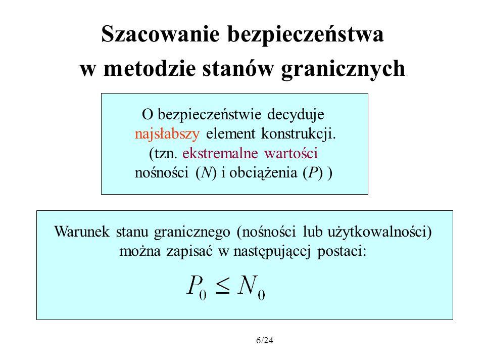 17/24 Górne i dolne prawdopodobieństwo zniszczenia konstrukcji W praktycznych obliczeniach można wykorzystać metodę Monte-Carlo.