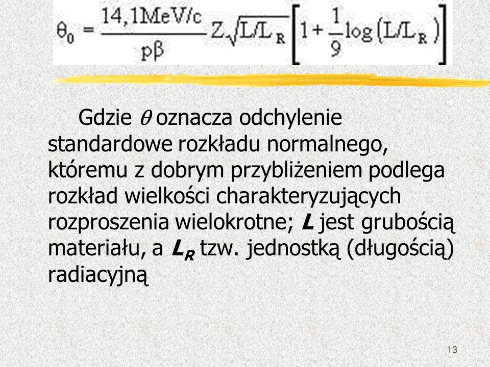 13 Gdzie oznacza odchylenie standardowe rozkładu normalnego, któremu z dobrym przybliżeniem podlega rozkład wielkości charakteryzujących rozproszenia