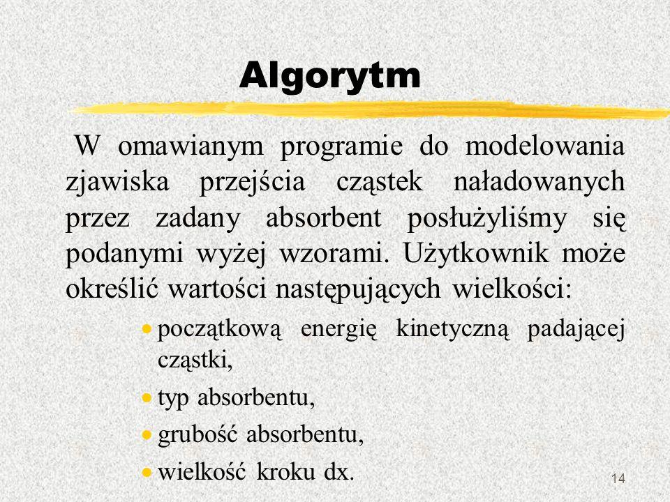 14 Algorytm W omawianym programie do modelowania zjawiska przejścia cząstek naładowanych przez zadany absorbent posłużyliśmy się podanymi wyżej wzoram