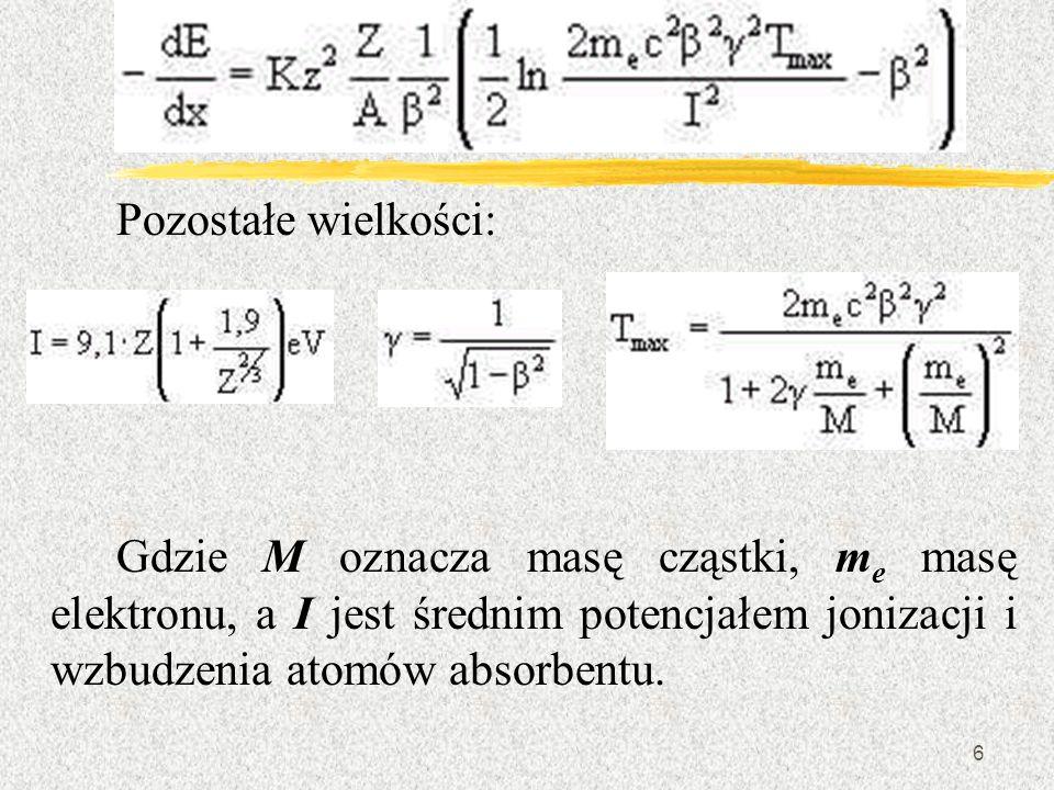 6 Pozostałe wielkości: Gdzie M oznacza masę cząstki, m e masę elektronu, a I jest średnim potencjałem jonizacji i wzbudzenia atomów absorbentu.