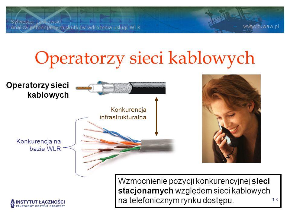 Sylwester Laskowski Analiza potencjalnych skutków wdrożenia usługi WLR www.itl.waw.pl 13 Operatorzy sieci kablowych Konkurencja na bazie WLR Konkurenc
