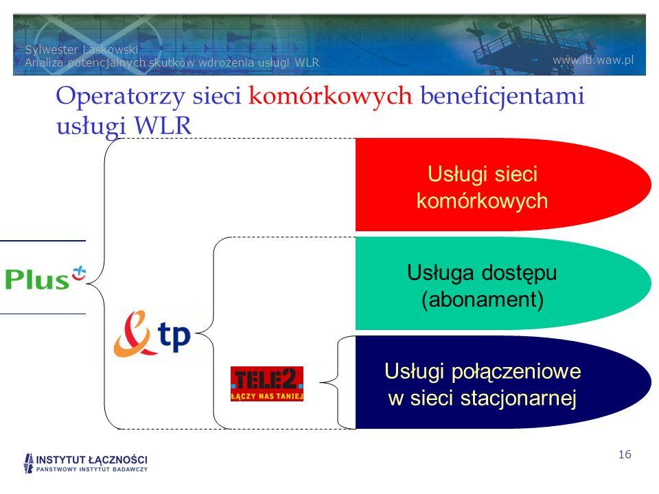 Sylwester Laskowski Analiza potencjalnych skutków wdrożenia usługi WLR www.itl.waw.pl 16 Usługi połączeniowe w sieci stacjonarnej Usługa dostępu (abonament) Usługi sieci komórkowych Operatorzy sieci komórkowych beneficjentami usługi WLR