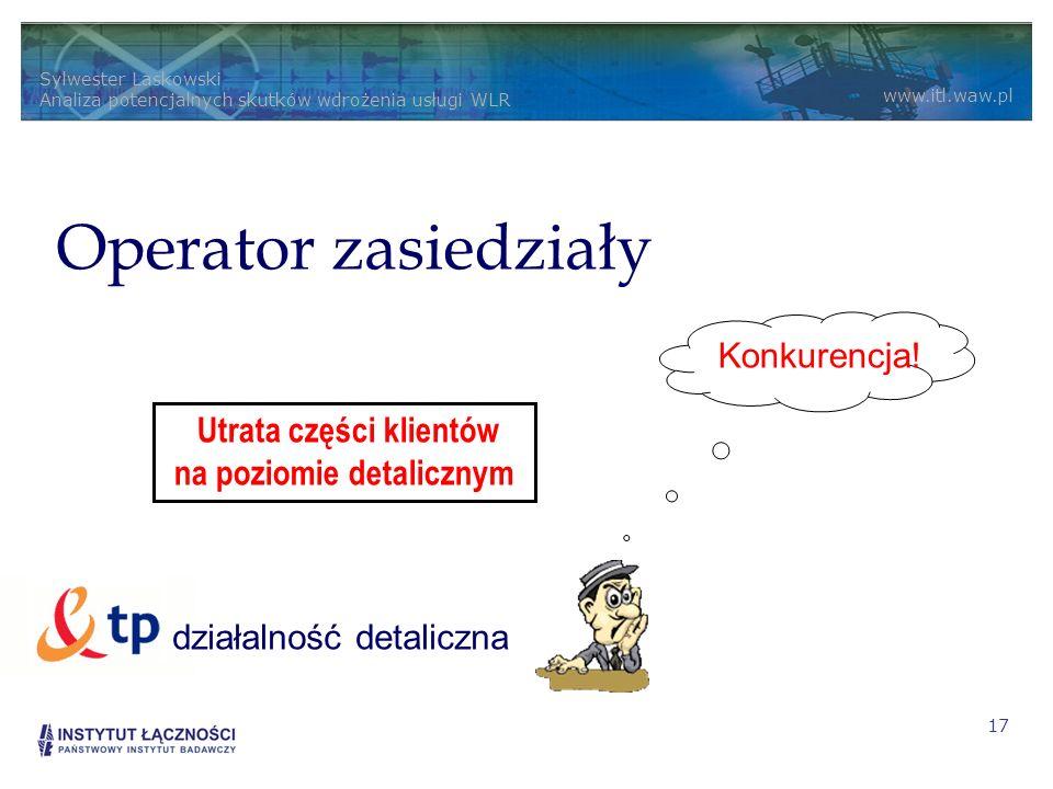 Sylwester Laskowski Analiza potencjalnych skutków wdrożenia usługi WLR www.itl.waw.pl 17 Alternatywny usługodawca sprzedaż detaliczna Operator zasiedziały Konkurencja.