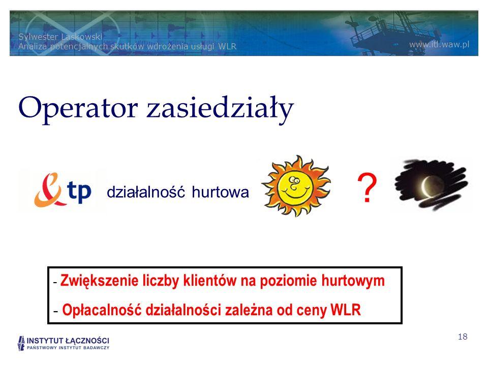 Sylwester Laskowski Analiza potencjalnych skutków wdrożenia usługi WLR www.itl.waw.pl 18 Alternatywny usługodawca sprzedaż detaliczna Operator zasiedz