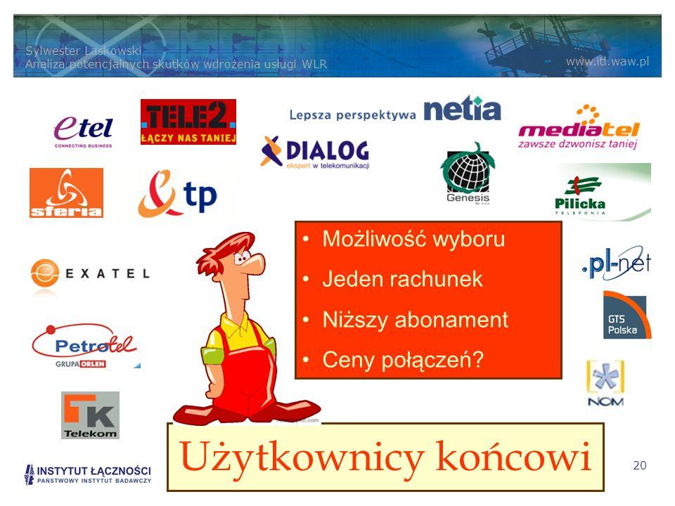 Sylwester Laskowski Analiza potencjalnych skutków wdrożenia usługi WLR www.itl.waw.pl 20 Użytkownicy końcowi Możliwość wyboru Jeden rachunek Niższy abonament Ceny połączeń?