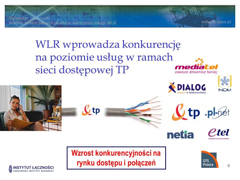 Sylwester Laskowski Analiza potencjalnych skutków wdrożenia usługi WLR www.itl.waw.pl 6 WLR wprowadza konkurencję na poziomie usług w ramach sieci dostępowej TP Wzrost konkurencyjności na rynku dostępu i połączeń