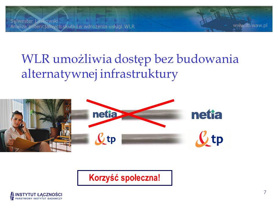 Sylwester Laskowski Analiza potencjalnych skutków wdrożenia usługi WLR www.itl.waw.pl 7 WLR umożliwia dostęp bez budowania alternatywnej infrastruktury Korzyść społeczna!