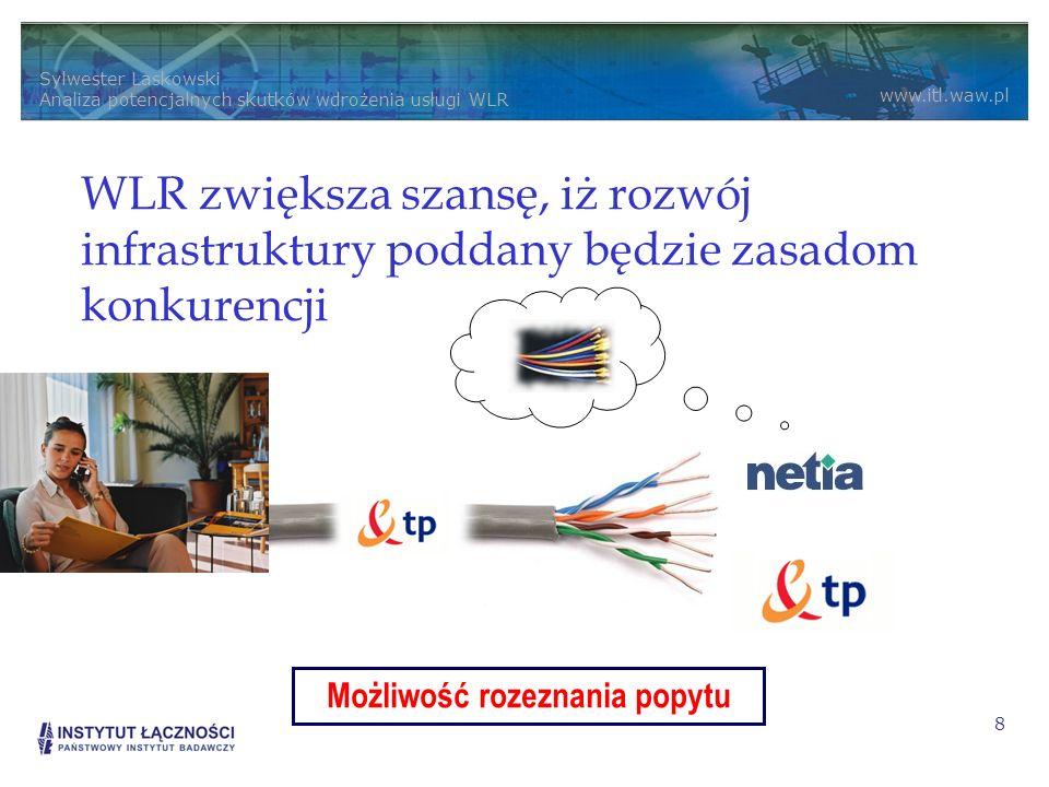 Sylwester Laskowski Analiza potencjalnych skutków wdrożenia usługi WLR www.itl.waw.pl 8 WLR zwiększa szansę, iż rozwój infrastruktury poddany będzie zasadom konkurencji Możliwość rozeznania popytu