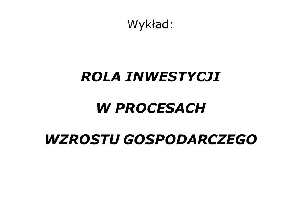 Wykład: ROLA INWESTYCJI W PROCESACH WZROSTU GOSPODARCZEGO