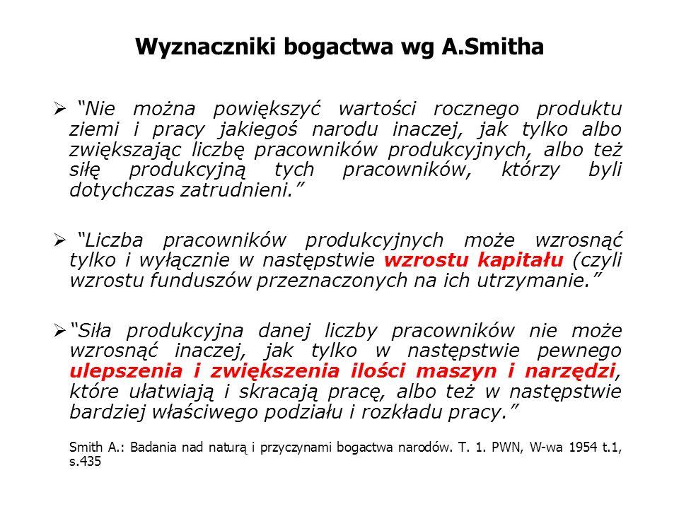 Wyznaczniki bogactwa wg A.Smitha Nie można powiększyć wartości rocznego produktu ziemi i pracy jakiegoś narodu inaczej, jak tylko albo zwiększając lic