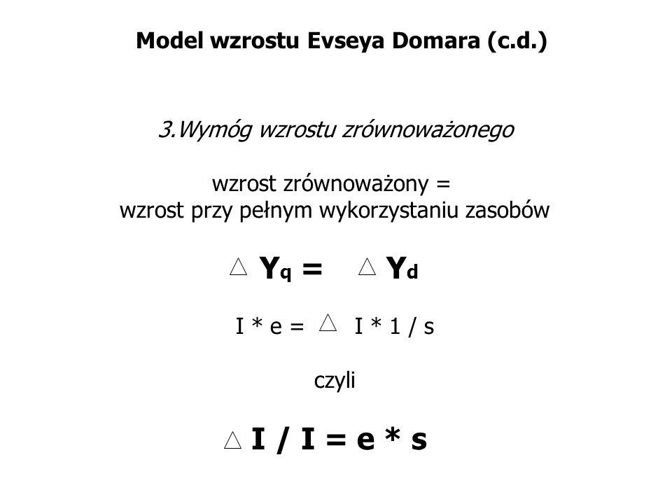 Model wzrostu Evseya Domara (c.d.) 3.Wymóg wzrostu zrównoważonego wzrost zrównoważony = wzrost przy pełnym wykorzystaniu zasobów Y q = Y d I * e = I *