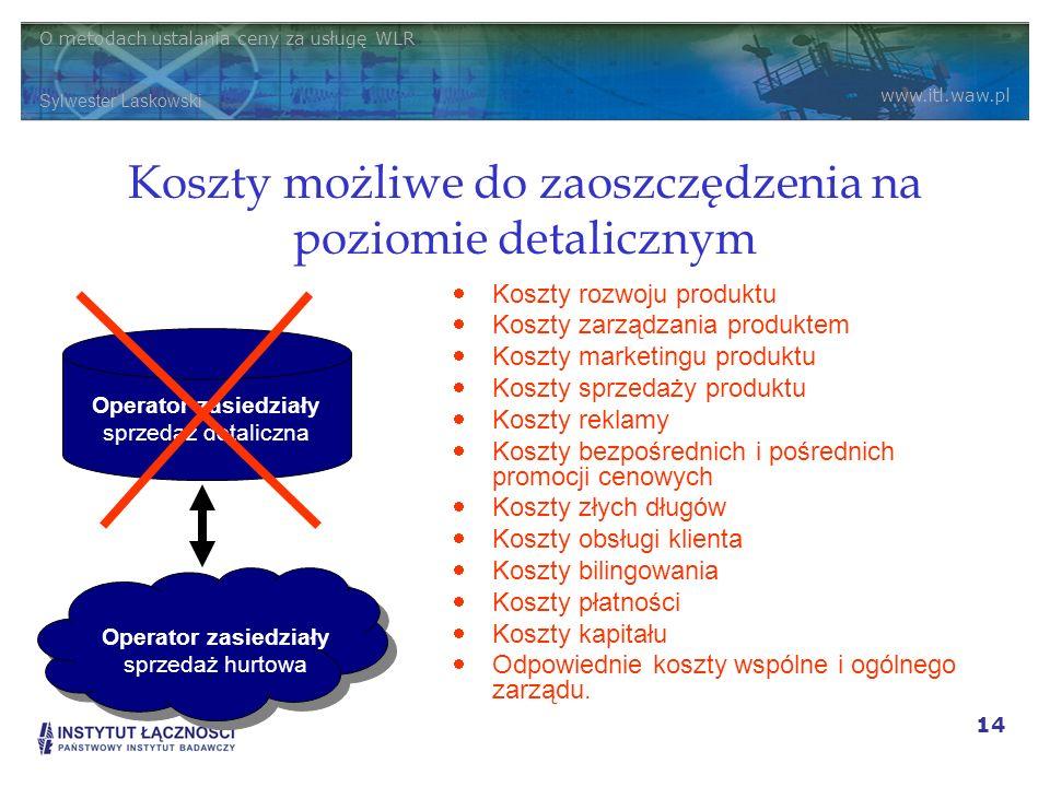 O metodach ustalania ceny za usługę WLR Sylwester Laskowski www.itl.waw.pl 14 Koszty możliwe do zaoszczędzenia na poziomie detalicznym Koszty rozwoju