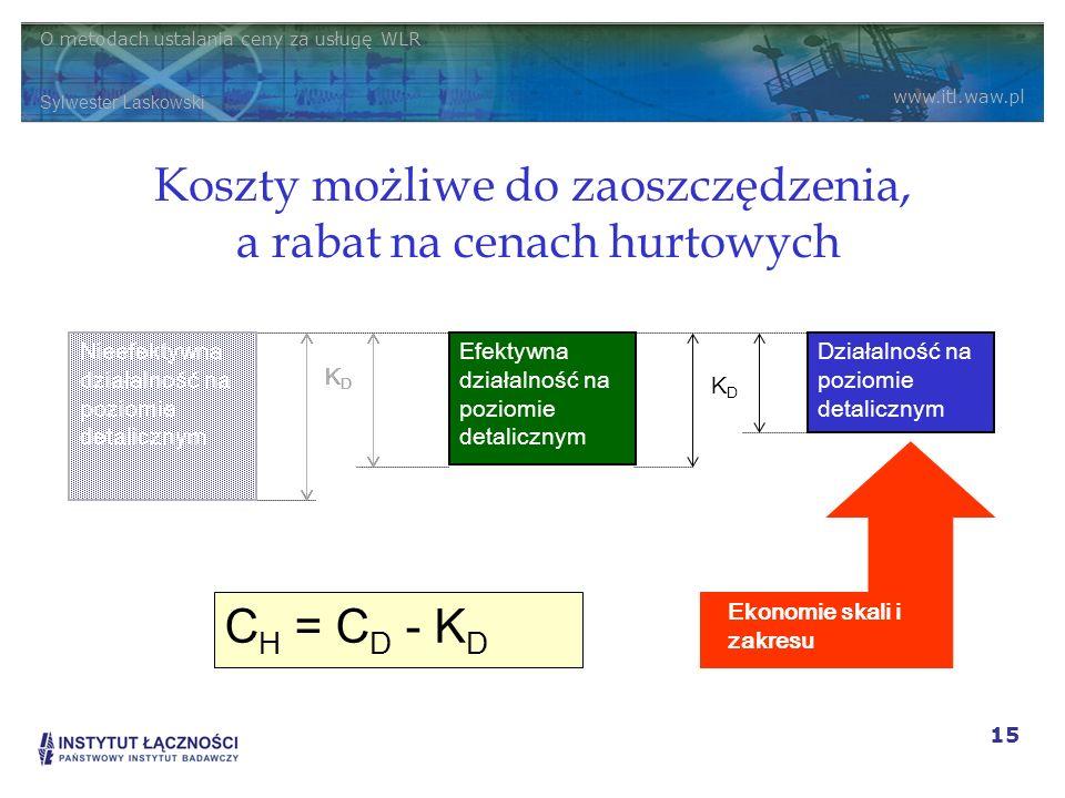 O metodach ustalania ceny za usługę WLR Sylwester Laskowski www.itl.waw.pl 15 Koszty możliwe do zaoszczędzenia, a rabat na cenach hurtowych Efektywna