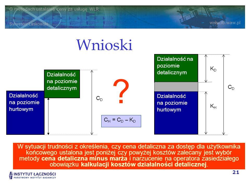 O metodach ustalania ceny za usługę WLR Sylwester Laskowski www.itl.waw.pl 21 Wnioski W sytuacji trudności z określenia, czy cena detaliczna za dostęp