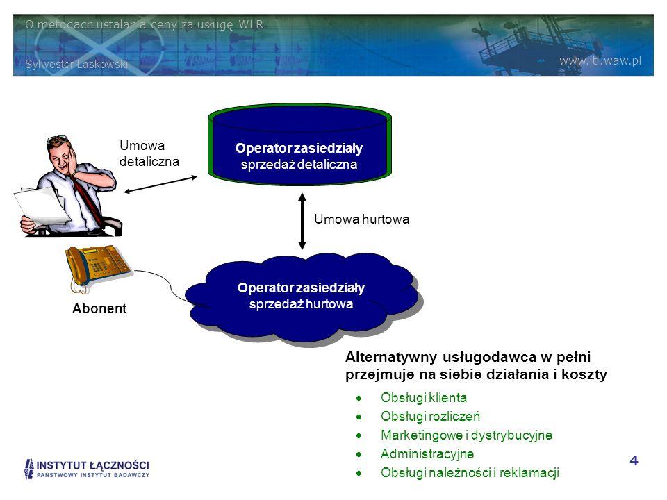 O metodach ustalania ceny za usługę WLR Sylwester Laskowski www.itl.waw.pl 4 Operator zasiedziały sprzedaż hurtowa Alternatywny usługodawca sprzedaż d